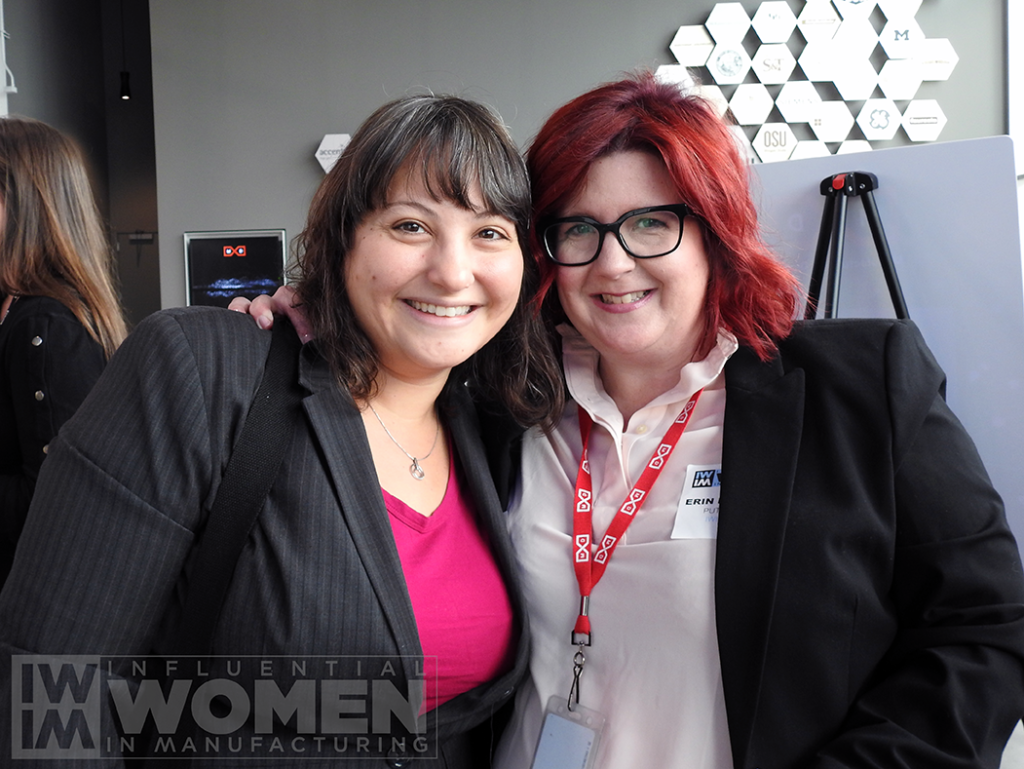 Cieana Detloff of Empowering Brands (left) and IWIM co-founder Erin Hallstrom (right) pose for a portrait at the 2019 Influential Women in Manufacturing awards luncheon.
