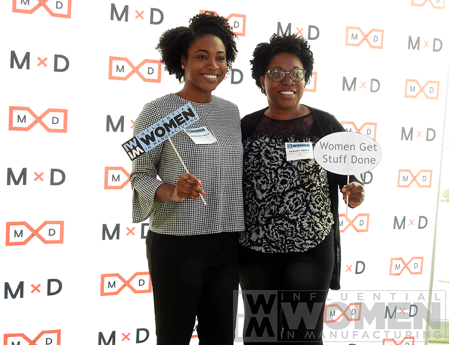 2019 IWIM honoree Adriana Swift (left) and Stacey Swift of Ingham County Medical Care pose for a portrait at the 2019 Influential Women in Manufacturing awards luncheon on Oct. 4 at MxD.