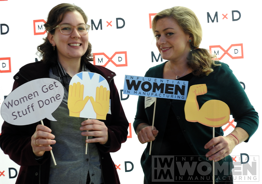 Scarlet Burmeister of Chicago Women in Trades (left) poses for a portrait at the 2019 Influential Women in Manufacturing awards luncheon on Oct. 4.