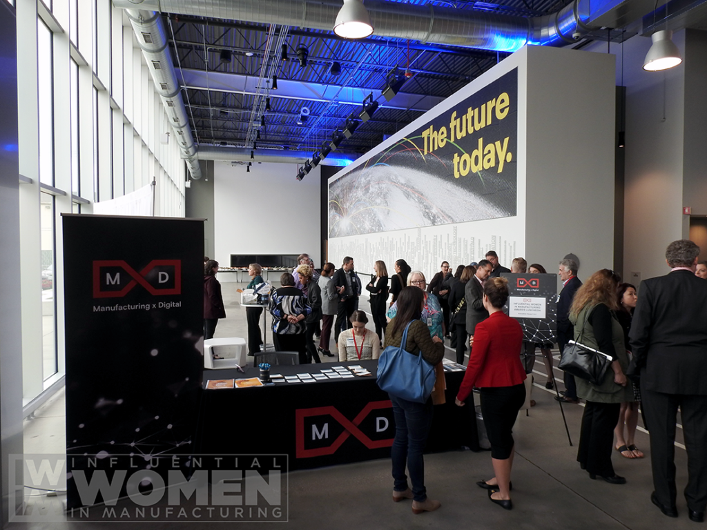 Guests arrive for the 2019 Influential Women in Manufacturing awards luncheon on Oct. 4 at MxD. The event honored 27 women in the  manufacturing field.