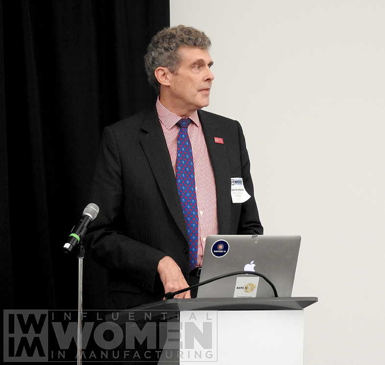 David McKeown of the Institute for Asset Management gives opening remarks at the 2019 Influential Women in Manufacturing awards luncheon on Oct. 4 at MxD.