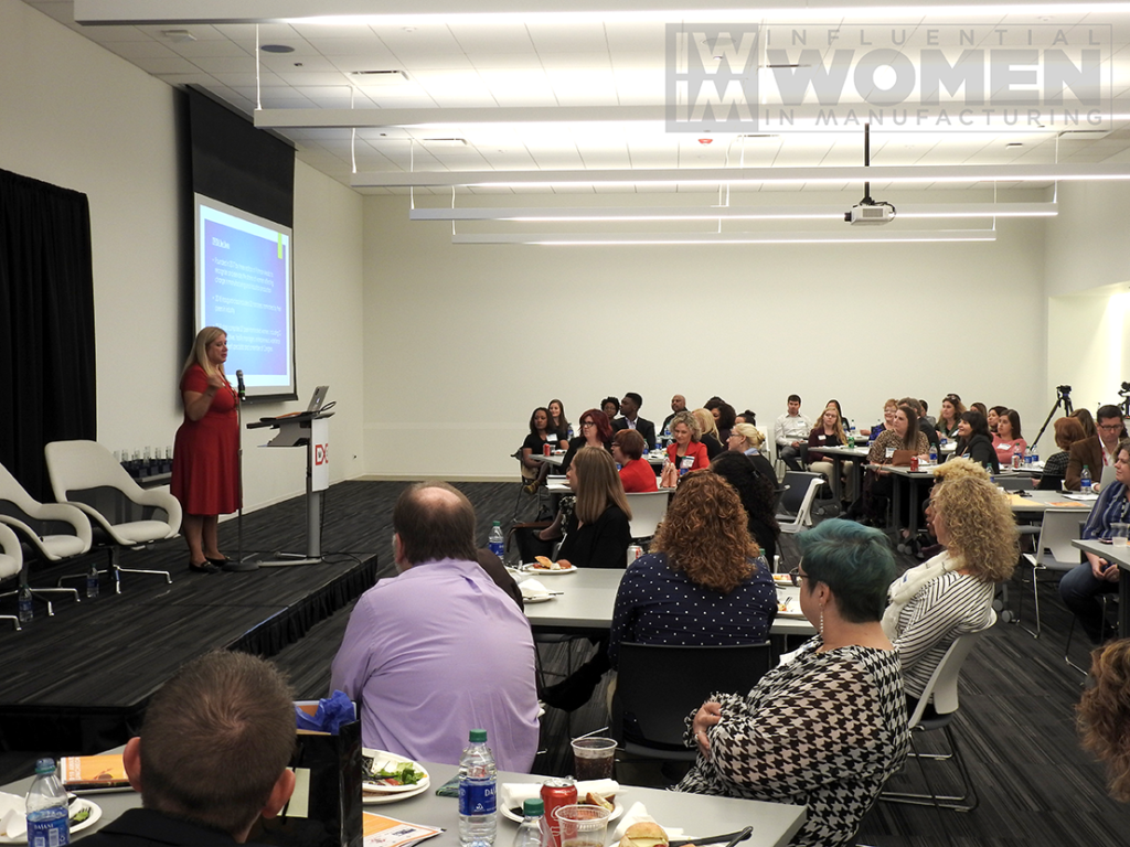 MxD CEO and 2019 IWIM honoree Chandra Brown welcomes attendees of the awards luncheon to MxD on Manufacturing Day, Oct. 4.