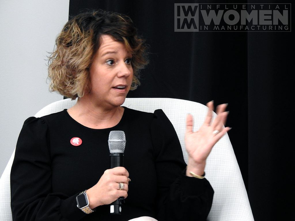 2019 IWIM honoree Kate Rome of Rome Grinding Solutions answers questions during a panel at the awards luncheon on Oct. 4 at MxD.
