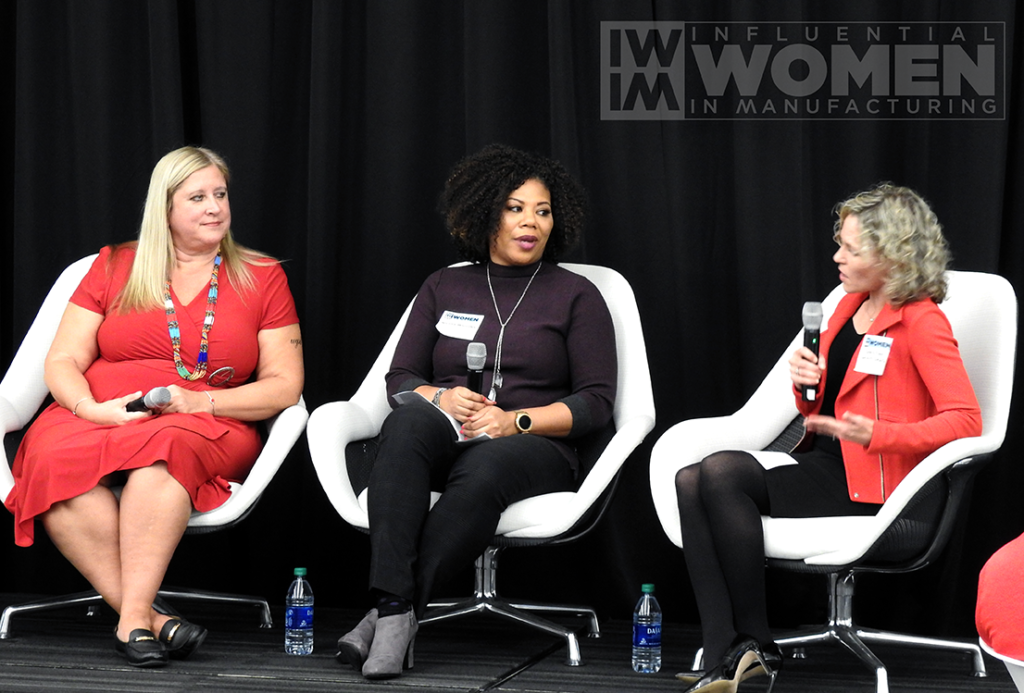 IWIM co-founder Christine LaFave Grace asks questions to 2019 IWIM honoree Chandra Brown (left) of MxD and Nicole Wiggins (right) of Navistar during a panel at the awards luncheon on Oct. 4 at MxD.