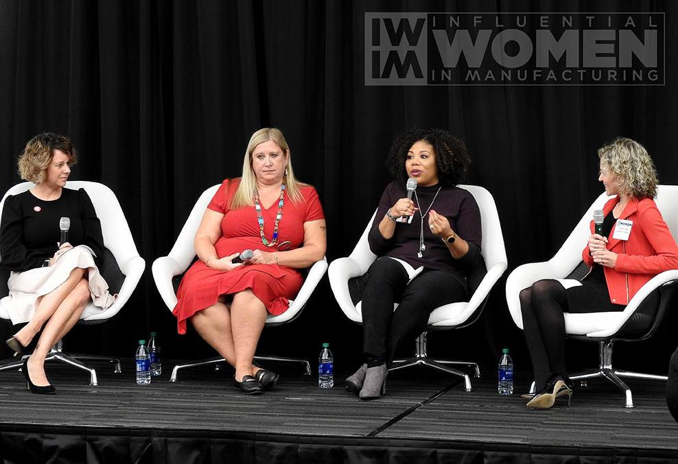 IWIM co-founder Christine LaFave Grace asks questions to 2019 IWIM honoree Kate Rome (left) of Rome Grinding Solutions, 2019 Chandra Brown (center) of MxD and Nicole Wiggins (right) of Navistar during a panel at the awards luncheon on Oct. 4 at MxD.