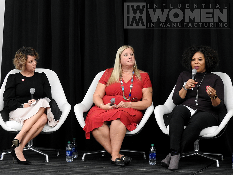 Panelists 2019 IWIM honoree Kate Rome of Rome Grinding Solutions (left), 2019 IWIM honoree Chandra Brown of MxD (center), and Nicole Wiggins of Navistar (right) answer questions at the 2019 IWIM awards luncheon on Oct. 4 at MxD.