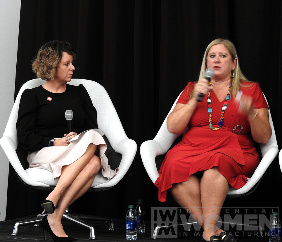 Panelists and 2019 IWIM honorees Kate Rome of Rome Grinding Solutions (left) and Chandra Brown of MxD (right) answer questions during the 2019 IWIM awards luncheon on Oct. 4 at MxD.
