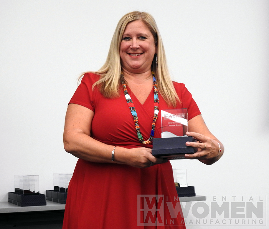 Chandra Brown, CEO, MxD, accepts her award.