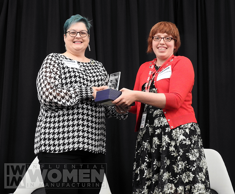 2019 IWIM honoree Diane Doise of Syngenta poses for a portrait with IWIM co-founder Alexis Gajewski during the awards luncheon on Manufacturing Day, Oct. 4 at MxD.