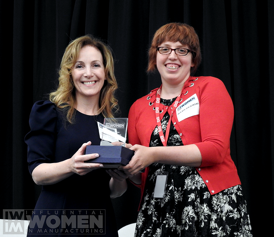2019 IWIM honoree Lauren Harrington of Rockwell Automation poses for a portrait with IWIM co-founder Alexis Gajewski during the awards luncheon on Manufacturing Day, Oct. 4 at MxD.