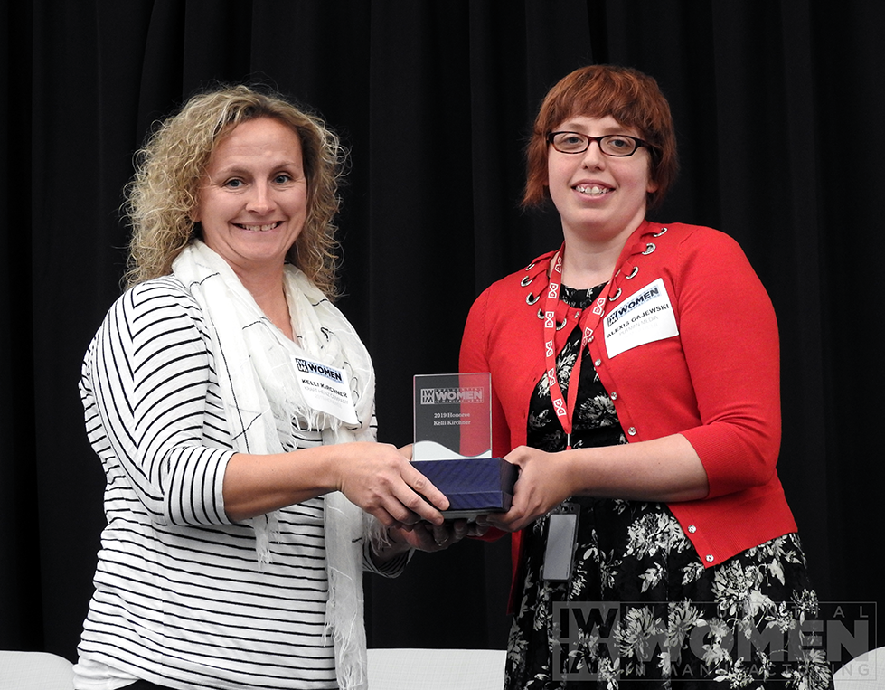 2019 IWIM honoree Kelli Kirchner of Kraft Heinz Company poses for a portrait with IWIM co-founder Alexis Gajewski during the awards luncheon on Manufacturing Day, Oct. 4 at MxD.