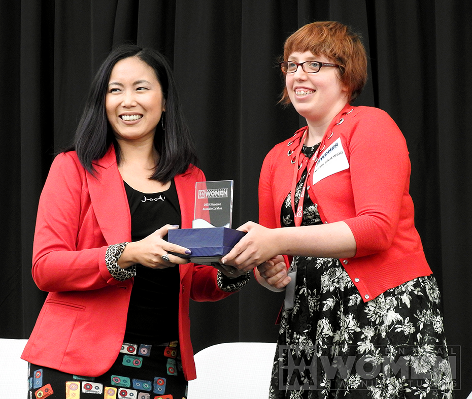2019 IWIM honoree Jennifer LaVine of Sikorsky Aircraft- A Lockheed Martin Company poses for a portrait with IWIM co-founder Alexis Gajewski during the awards luncheon on Manufacturing Day, Oct. 4 at MxD.