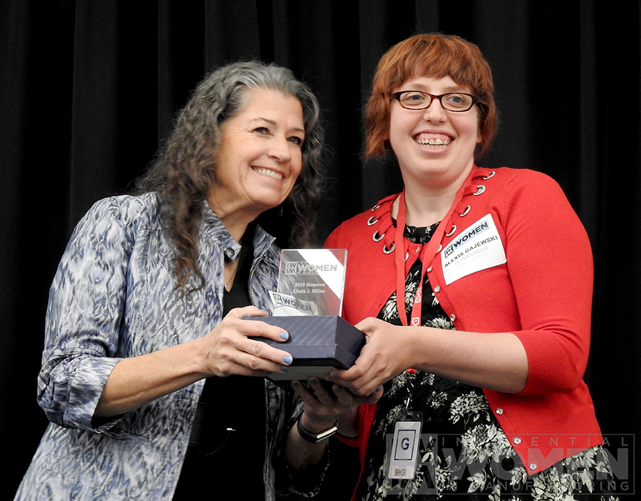 2019 IWIM honoree Linda Miller of PDT, Inc. poses for a portrait with IWIM co-founder Alexis Gajewski during the awards luncheon on Manufacturing Day, Oct. 4 at MxD.