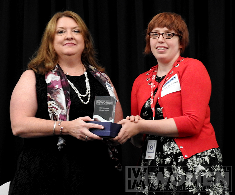 2019 IWIM honoree Christa Myers of CRB poses for a portrait with IWIM co-founder Alexis Gajewski during the awards luncheon on Manufacturing Day, Oct. 4 at MxD.