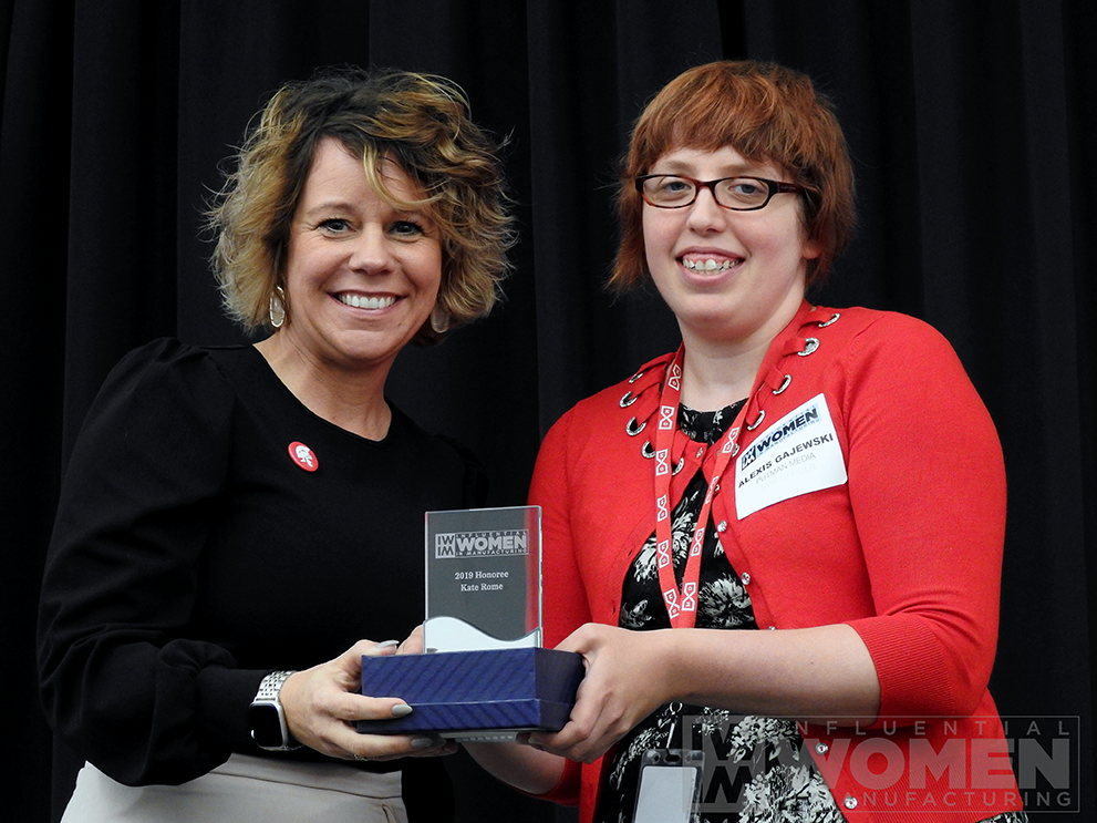 2019 IWIM honoree Kate Rome of Rome Grinding Solutions poses for a portrait with IWIM co-founder Alexis Gajewski during the awards luncheon on Manufacturing Day, Oct. 4 at MxD.