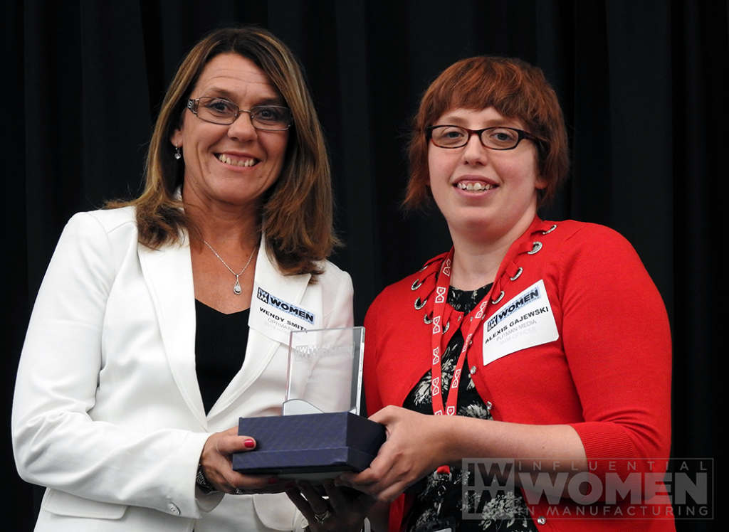 2019 IWIM honoree Wendy Smith of Optimation poses for a portrait with IWIM co-founder Alexis Gajewski during the awards luncheon on Manufacturing Day, Oct. 4 at MxD.