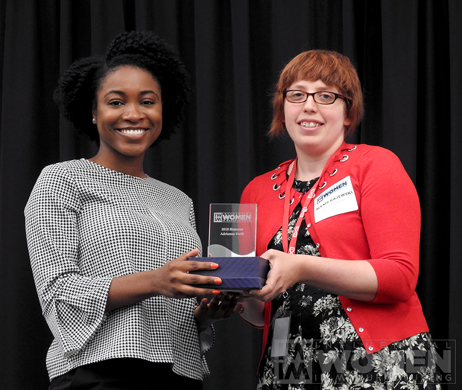 2019 IWIM honoree Adrianna Swift of Endress+Hauser poses for a portrait with IWIM co-founder Alexis Gajewski during the awards luncheon on Manufacturing Day, Oct. 4 at MxD.