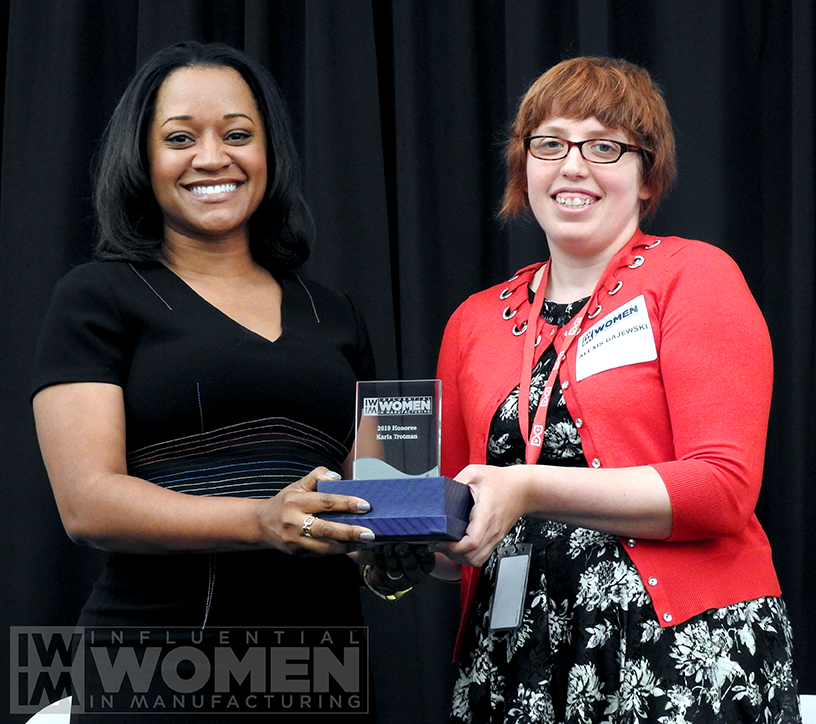 2019 IWIM honoree Karla Trotman of Electro Soft, Inc. poses for a portrait with IWIM co-founder Alexis Gajewski during the awards luncheon on Manufacturing Day, Oct. 4 at MxD.