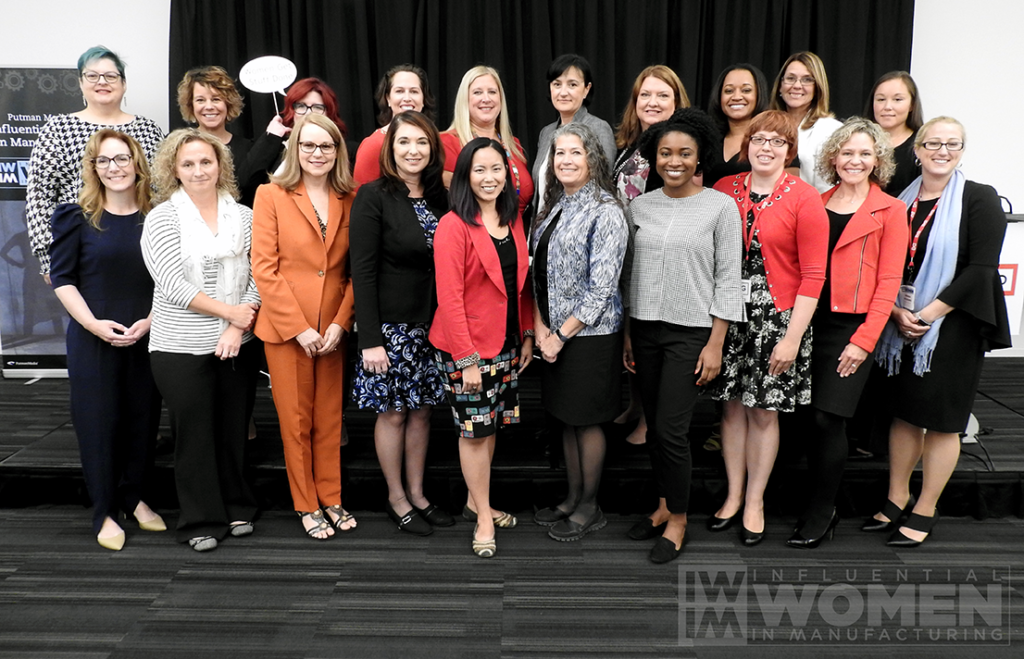 The 2019 IWIM honorees pose with the IWIM team at the awards luncheon on Oct. 4 at MxD. From left to right: (back row) Diane Doise of Syngenta, Kate Rome of Rome Grinding Solutions, IWIM co-founder Erin Hallstrom, Jonna Gerken of Pratt & Whitney, Chandra Brown of MxD, Lesia Protsailo of United Technologies Research Center, Christa Myers of CRB, Karla Trotman of Electro Soft, Inc., Wendy Smith of Optimation, Arial Ruble of Tate & Lyle, (front row) Lauren Harrington of Rockwell Automation, Kelli Kirchner of Kraft Heinz Company, Sheri Plain of Owensboro Community and Technical College, Lisa Graham of Seeq Corporation, Jennifer LaVine of Sikorsky Aircraft- a Lockheed Martin Company, Linda Miller of PDT, Inc, Adrianna Swift of Endress+Hauser, IWIM co-founder Alexis Gajewski, IWIM co-founder Christine LaFave Grace, IWIM team member Amanda Del Buono.