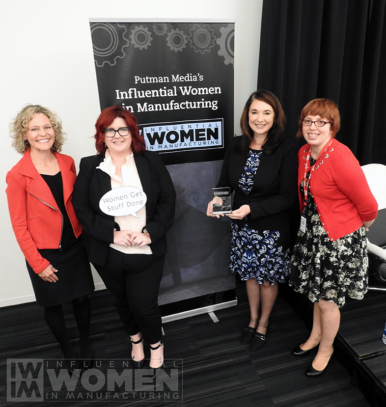 2019 IWIM honoree Lisa Graham of Seeq Corp (center right) poses with IWIM co-founders Christine LaFave Grace (left), Erin Hallstrom (center left) and Alexis Gajewski (right) at the awards luncheon on Oct. 4 at MxD.