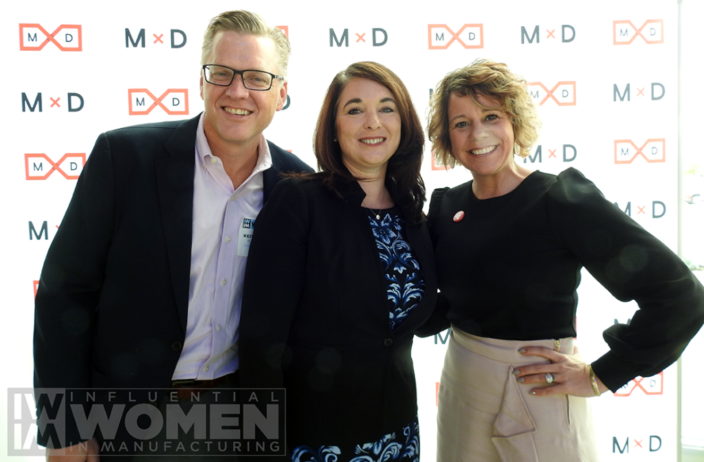 Keith Larson of Putman Media (left), poses with 2019 IWIM honorees Lisa Graham of Seeq Corporation (center) and Kate Rome of Rome Grinding Solutions (right) pose for a portrait at the awards luncheon on Oct. 4 at MxD.