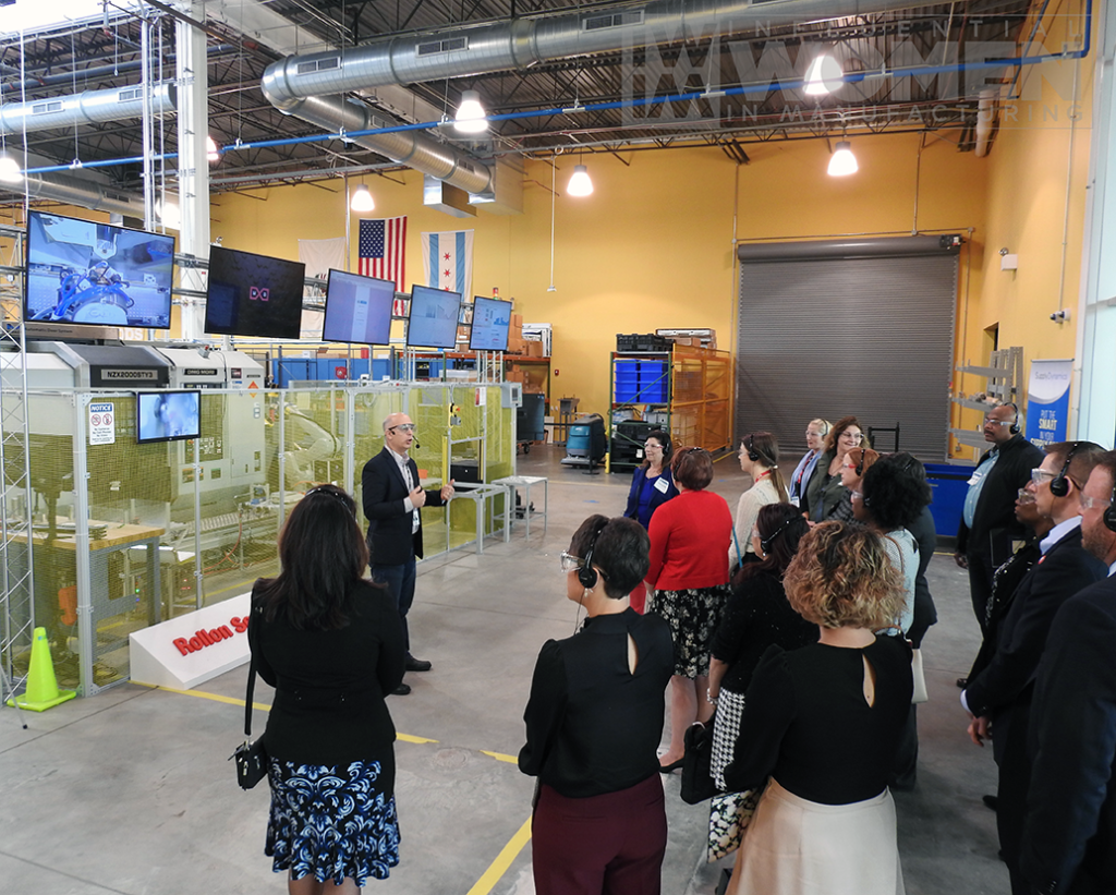 2019 Influential Women in Manufacturing awards luncheon attendees get a tour of MxD's manufacturing floor on Oct. 4.